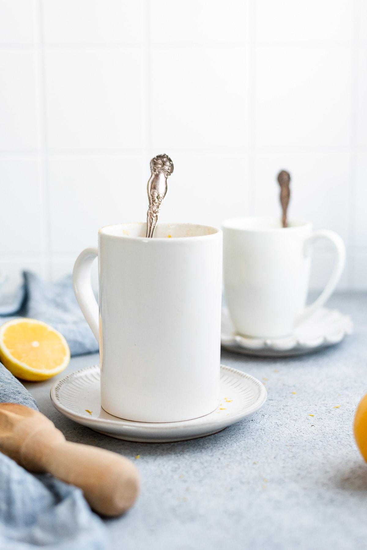 mugs filled with lemon cake