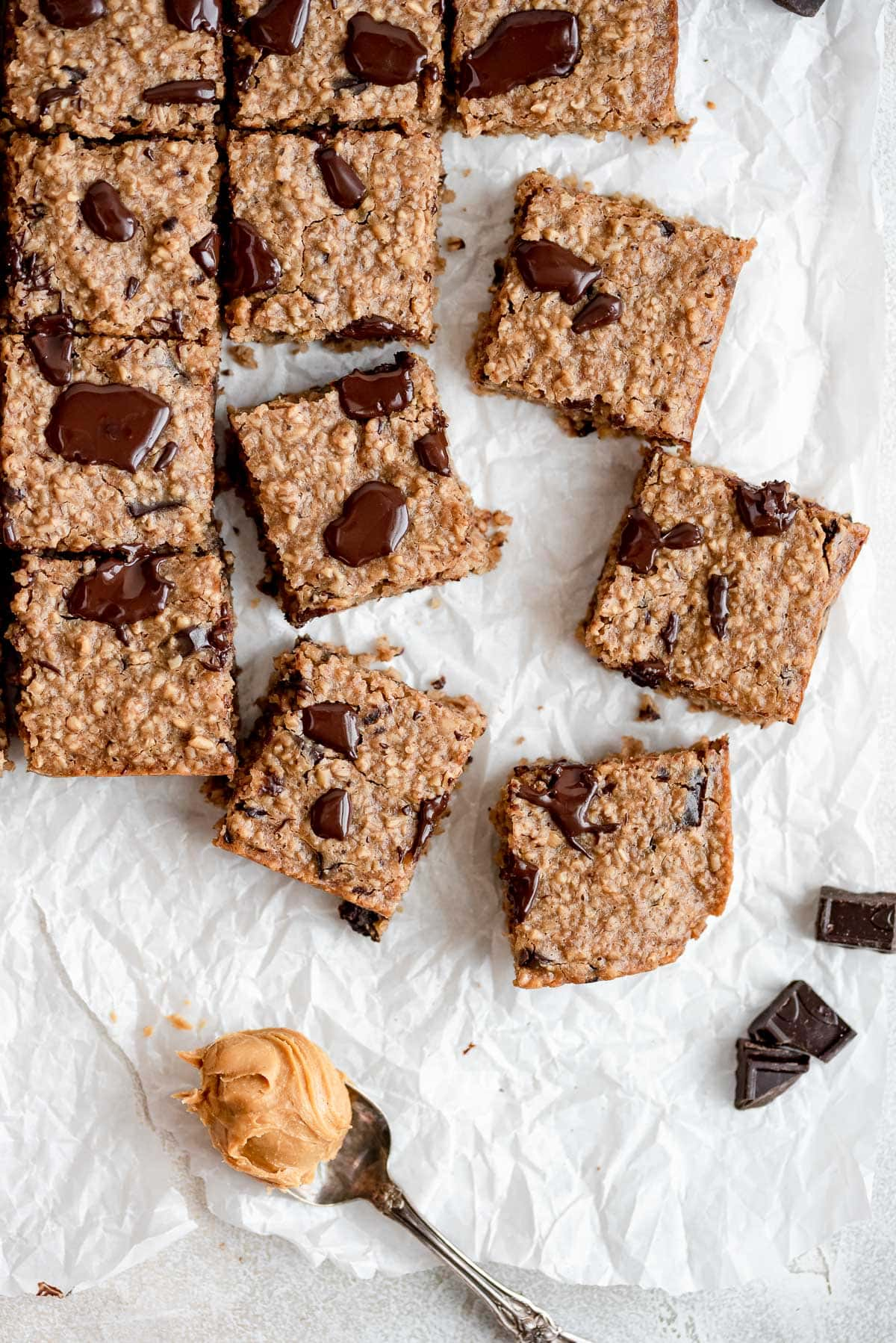 cut oatmeal bars scattered on table