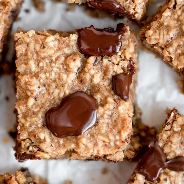 close up baked oatmeal square