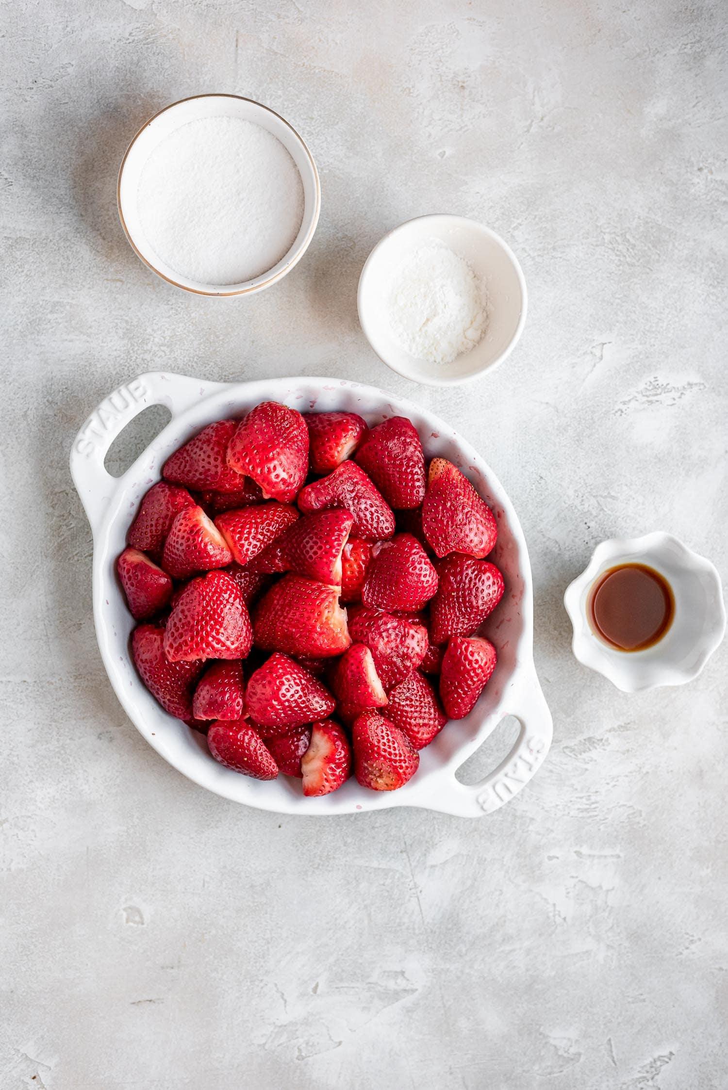 sliced strawberries in pan