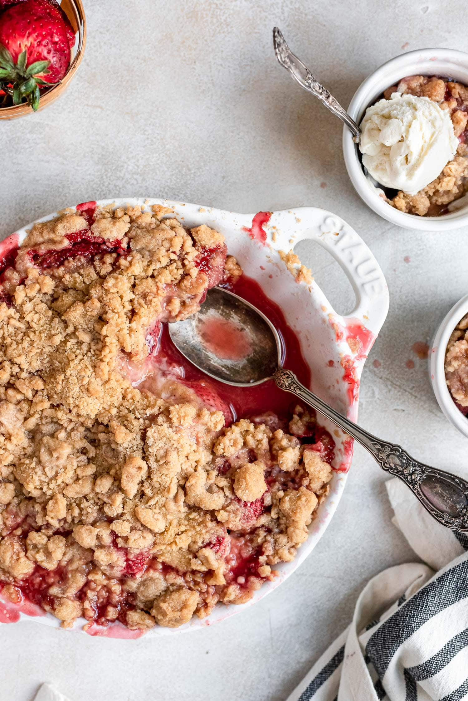 close up of crumble in pan