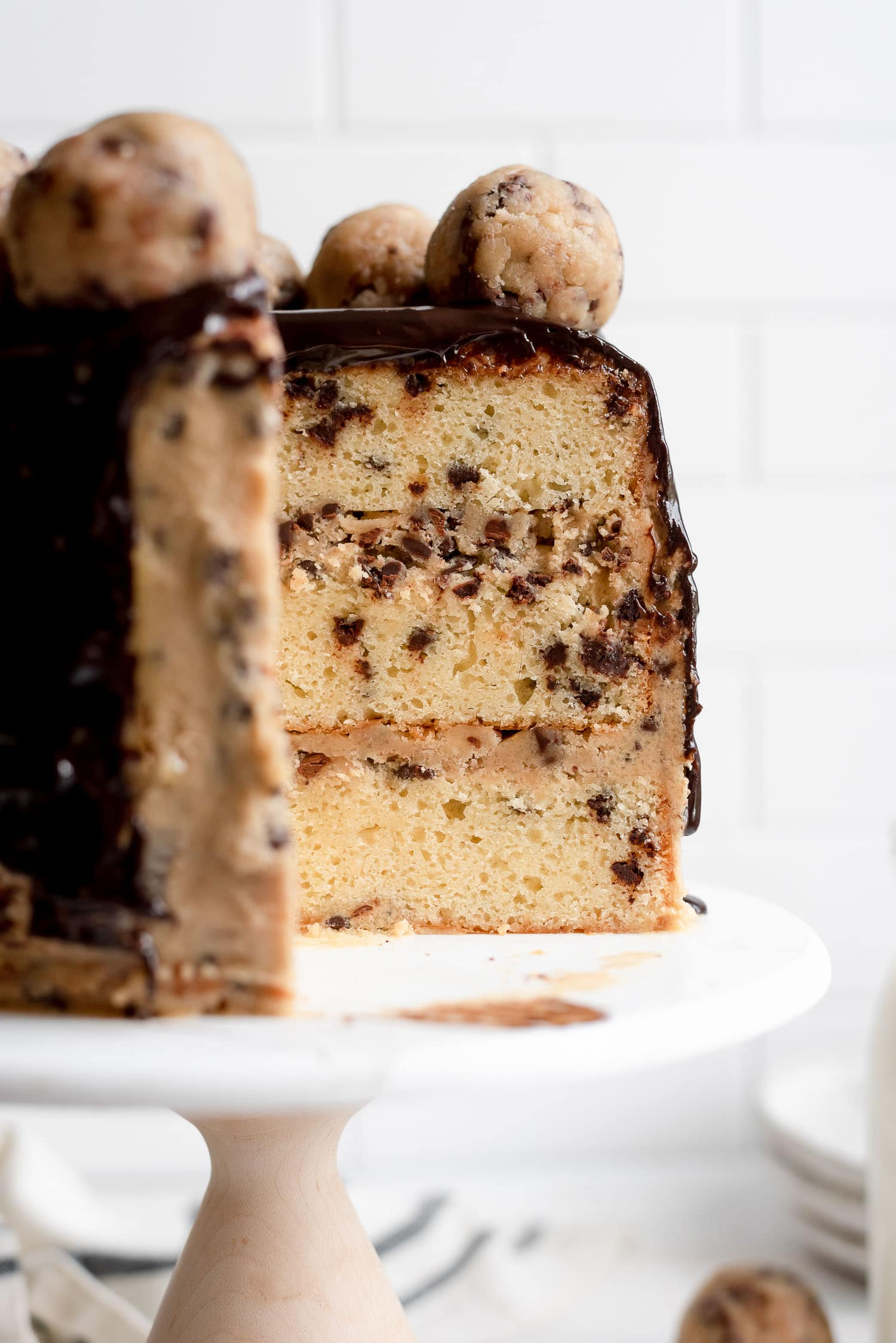 inside cookie dough layered cake