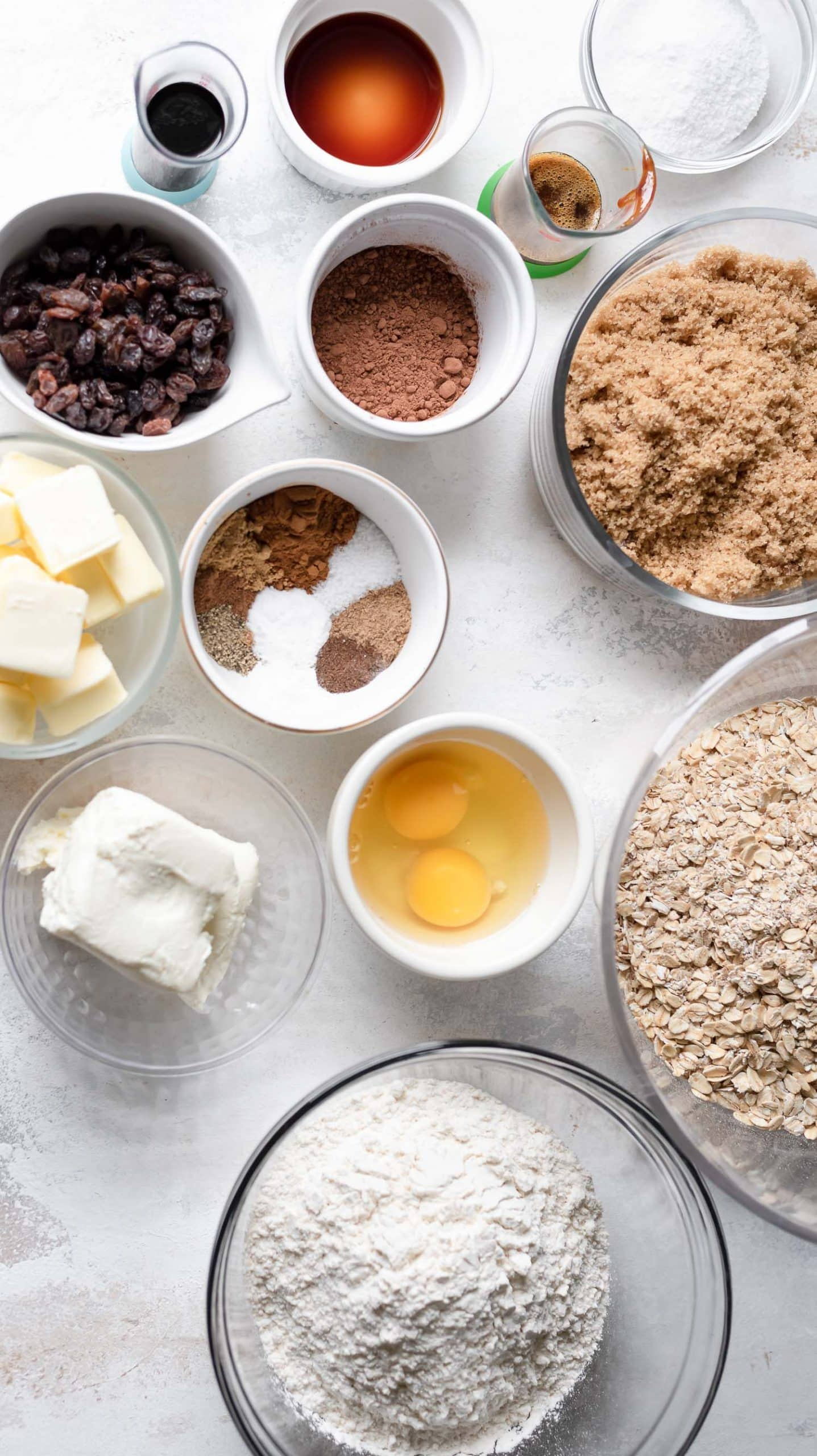 ingredients in bowls for chai oatmeal cookies