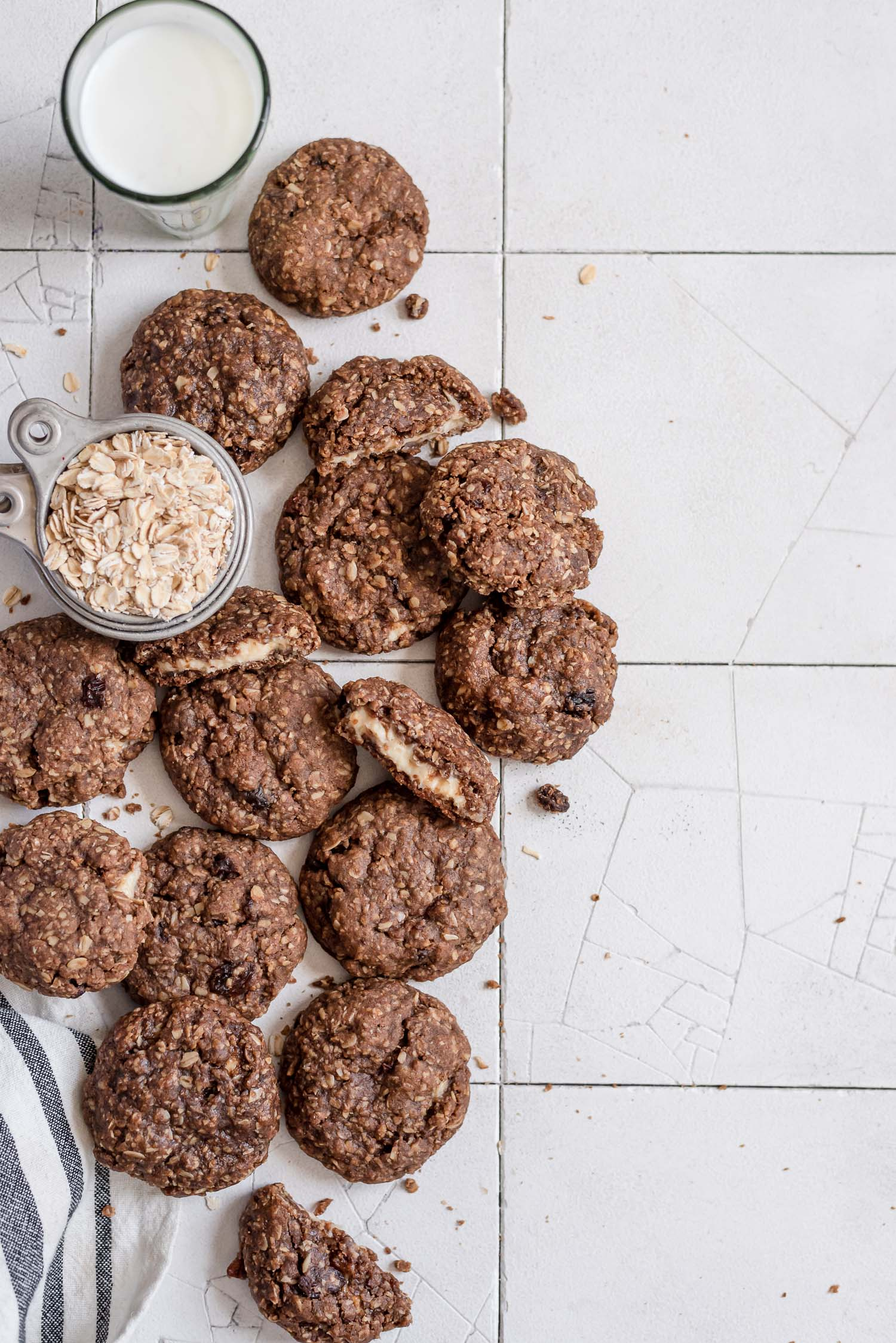 chai oatmeal cookies on table with oats