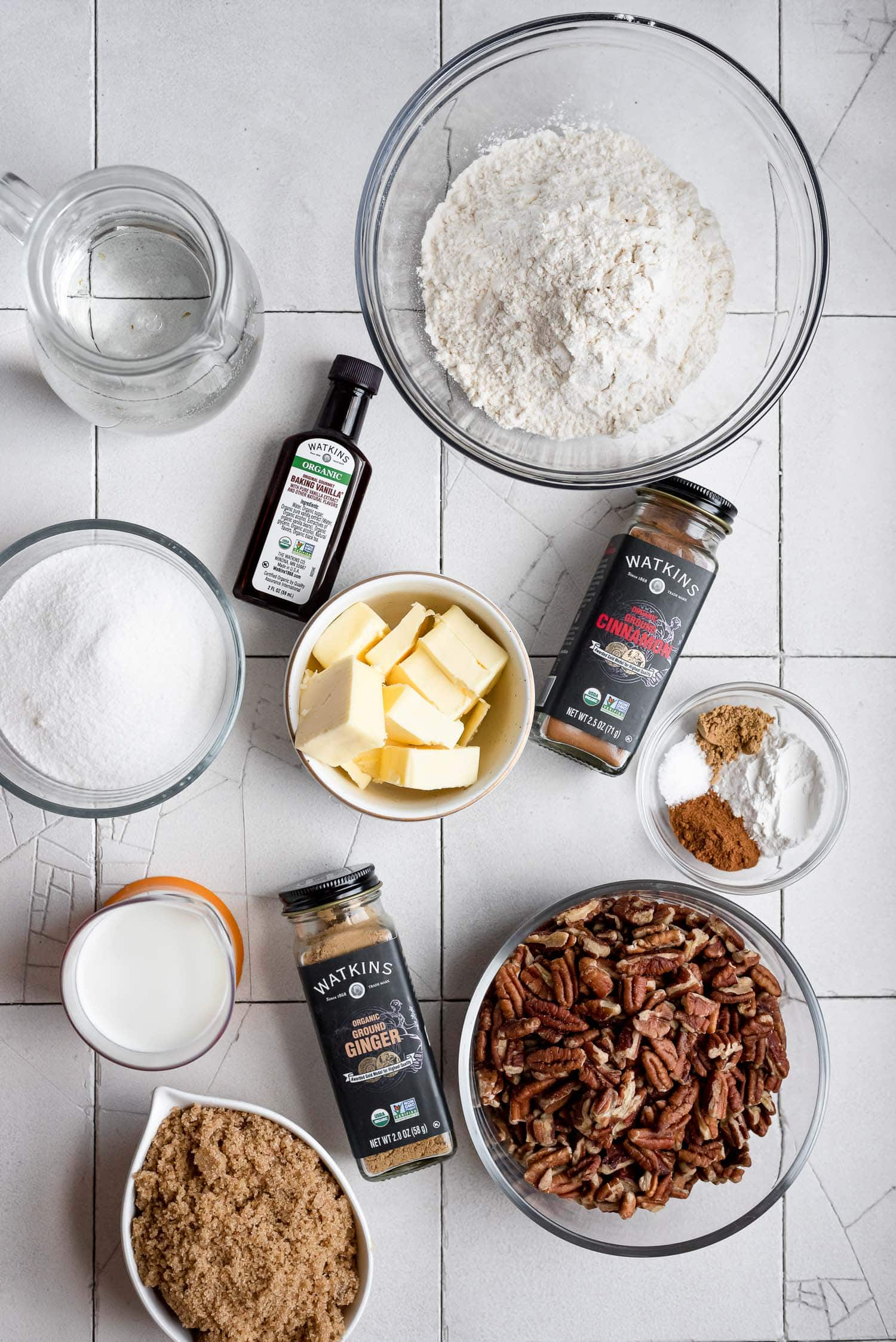 ingredients in bowls for simple cobbler