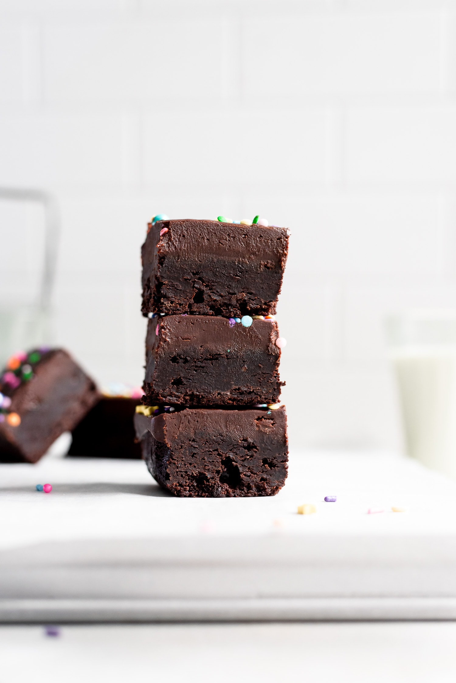 close up stack of brownies