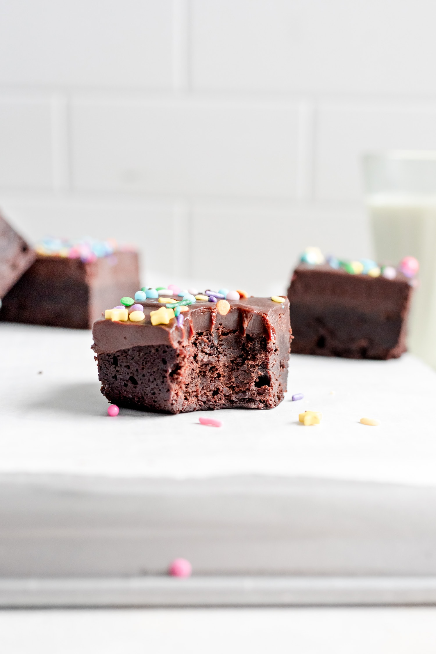 close up of brownie with bite missing